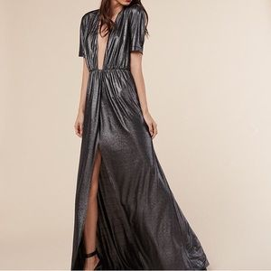 Reformation plunge front metallic dress